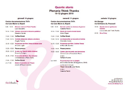Programma della Plenaria al Think Thanks